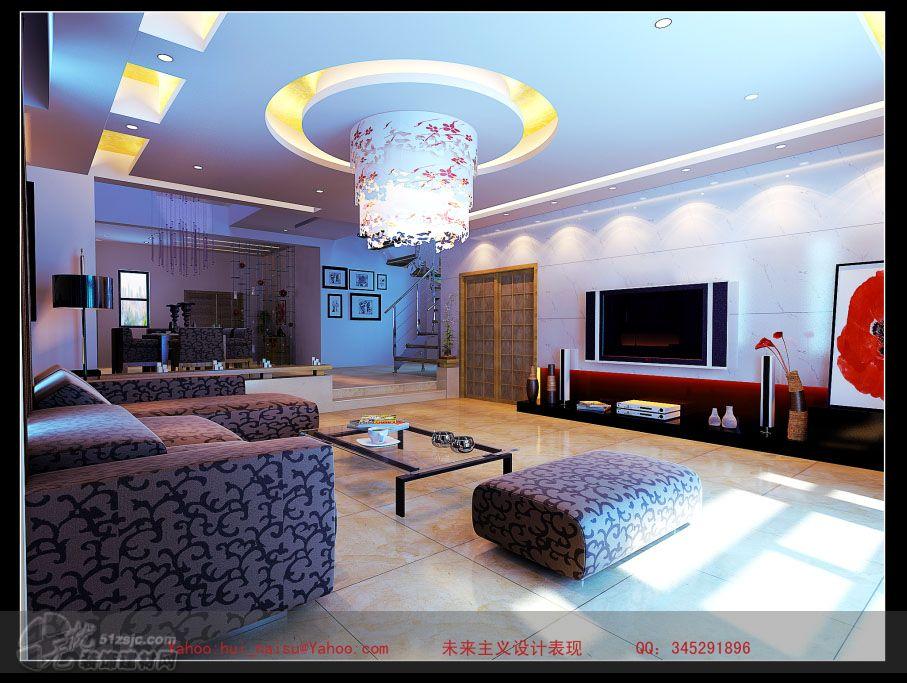 某别墅一楼客厅电视背景 作品 家居设计图库 效果图,实景图,样板高清图片